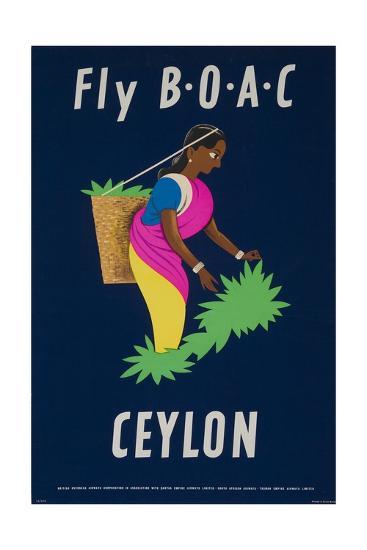 Fly Boac Ceylon Travel Poster--Giclee Print