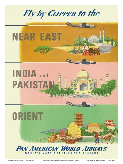 Fly by Clipper to Near East, India and Pakistan, Pan American World Airways  Art Print by | Art com