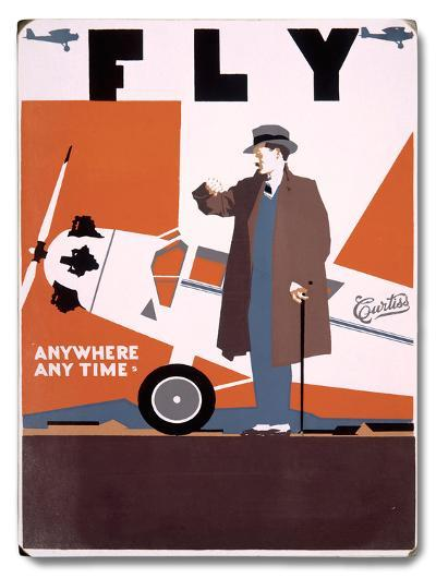 Fly Curtiss Airplane Aviation--Wood Sign