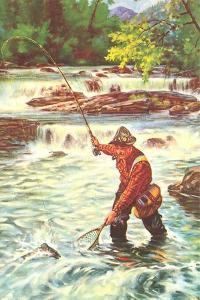 Fly Fisher with Net