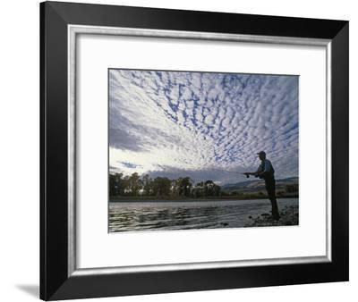 Fly Fisherman Casts for Trout in the Yellowstone River-Gordon Wiltsie-Framed Photographic Print