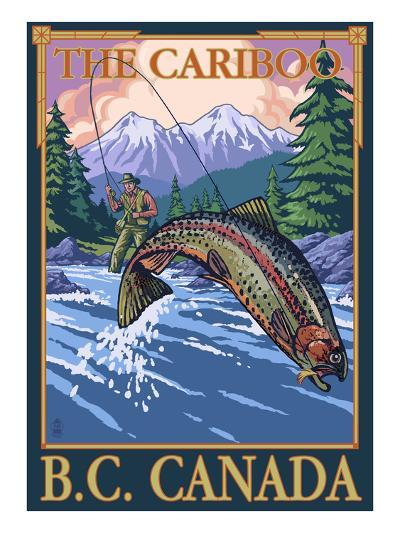 Fly Fisherman - The Cariboo, BC, Canada-Lantern Press-Art Print