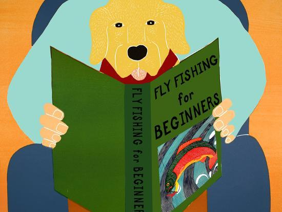 Fly Fishing For Beginners Yellow-Stephen Huneck-Giclee Print