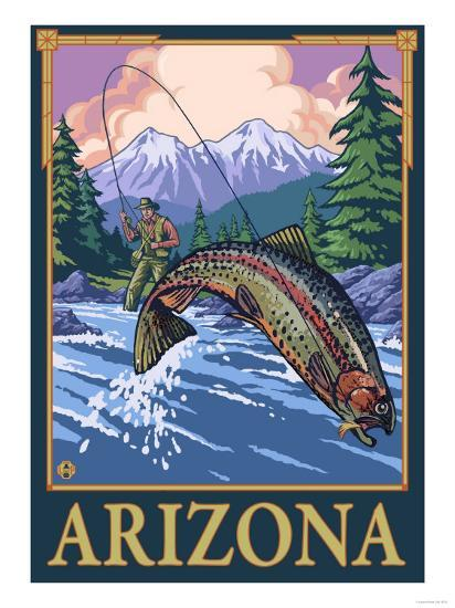 Fly Fishing Scene - Arizona-Lantern Press-Art Print