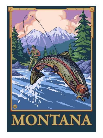 Fly Fishing Scene, Montana-Lantern Press-Art Print