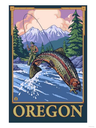 Fly Fishing Scene, Oregon-Lantern Press-Art Print