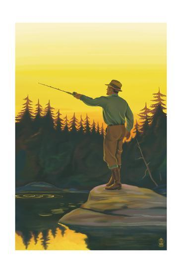 Fly Fishing Scene-Lantern Press-Art Print