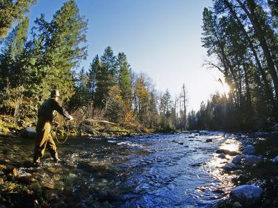 Fly-fishing the Jocko River, Montana, USA-Chuck Haney-Photographic Print