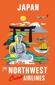 Fly Northwest Orient Airlines: Japan, c.1950s