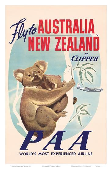 Fly to Australia and New Zealand c.1950s--Art Print