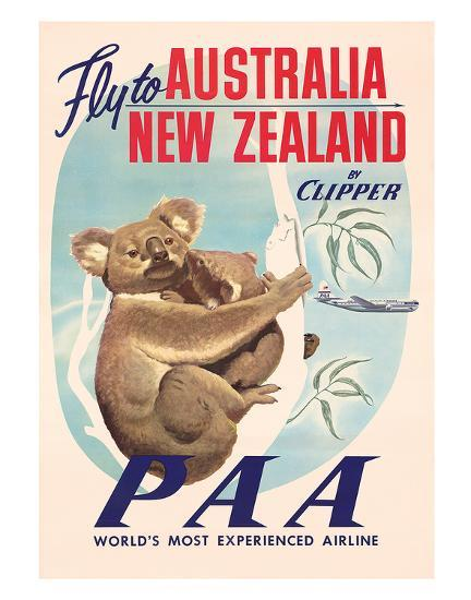 Fly to Australia and New Zealand c.1950s--Giclee Print