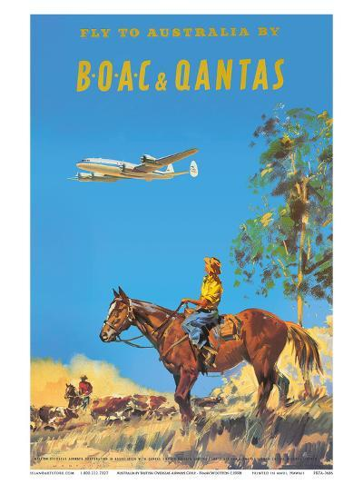 Fly to Australia by British Overseas Airways Corporation (BOAC) and Qantas Airlines-Frank Wootton-Art Print
