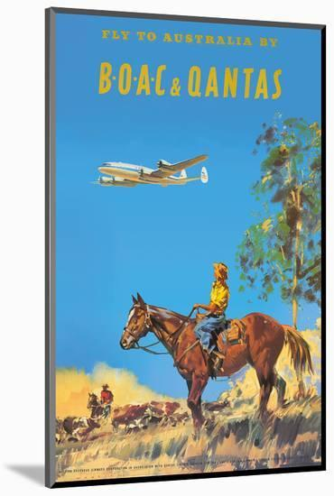 Fly to Australia by British Overseas Airways Corporation (BOAC) and Qantas Airlines-Frank Wootton-Mounted Art Print