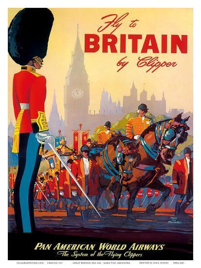 Fly To Britain By Clipper - Pan American World Airways (PAA) - British Royal Procession-Mark Von Arenburg-Art Print