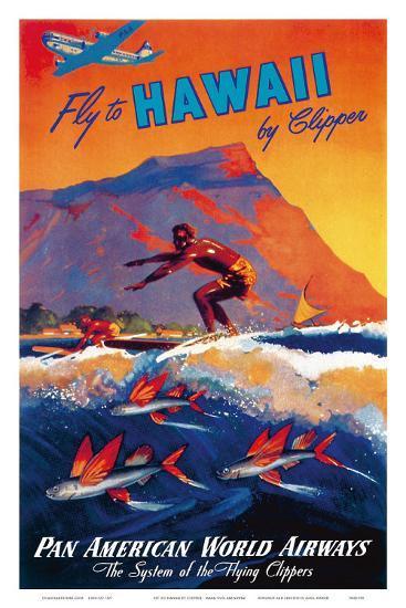 Fly To Hawaii by Clipper, Pan American World Airways c.1940s-M^ Von Arenburg-Art Print