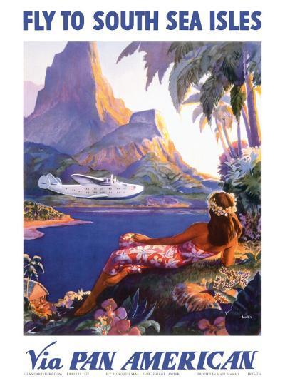 Fly to the South Seas Isles, via Pan American Airways, c.1940s-Paul George Lawler-Art Print