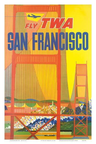Fly TWA San Francisco, Golden Gate Bridge c.1958-David Klein-Art Print
