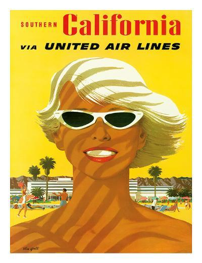 Fly United Air Lines: Southern California, c.1955-Stan Galli-Giclee Print