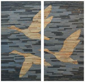 Fly Wood Wall Art Panel Pair