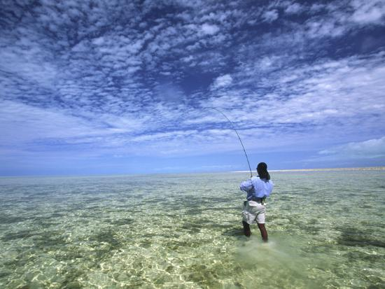 Flyfishing for Bonefish on the Bahama Flats-Michael Melford-Photographic Print