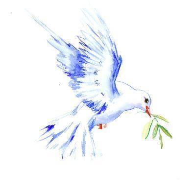 Flyine White Dove-Suren Nersisyan-Art Print
