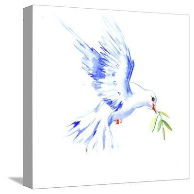 Flyine White Dove-Suren Nersisyan-Stretched Canvas Print