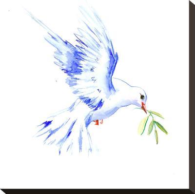 Flyine White Dove-Suren Nersisyan-Stretched Canvas Print