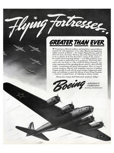 Flying Fortresses Boeing ad--Art Print