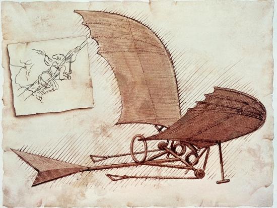 Flying Machine-Leonardo da Vinci-Giclee Print