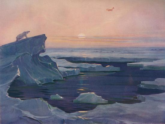 'Flying over the Polar Wastes', 1927-Unknown-Giclee Print