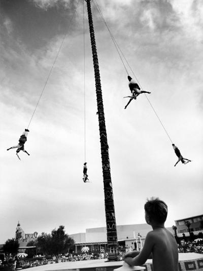 Flying Pole Dance or Voladores, Being Peformed by Aztec-Maya Ballet Co. at Dunes Hotels-Allan Grant-Photographic Print