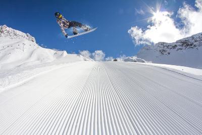 Flying Snowboarder on Mountains, Extreme Sport-Merkushev Vasiliy-Photographic Print
