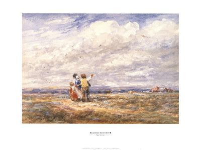 Flying the Kite-David Cox-Art Print