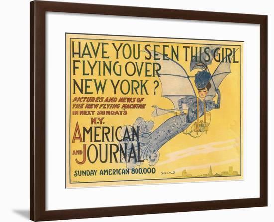 Flying Woman Illustration--Framed Art Print