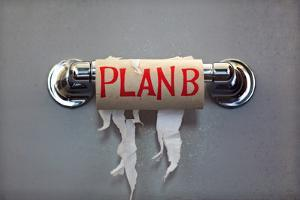 Empty Roll Of Toilet Paper With The Phrase Plan B, Concept For Alternative Planning by Flynt