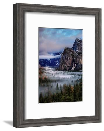 Fog and Mood Within Yosemite Valley, Bridallveil Falls-Vincent James-Framed Photographic Print