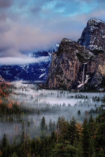 Fog and Mood Within Yosemite Valley, Bridallveil Falls-Vincent James-Photographic Print