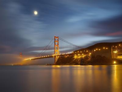 Fog and the Moon over the Golden Gate Bridge at Sunset, San Francisco, California, USA-Patrick Smith-Photographic Print