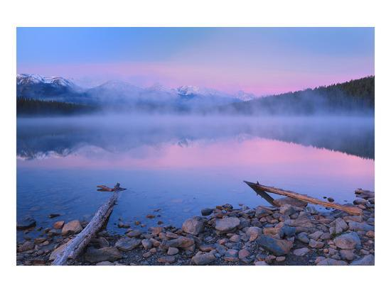 Fog at Dawn at Patricia Lake-Mike Grandmaison-Art Print