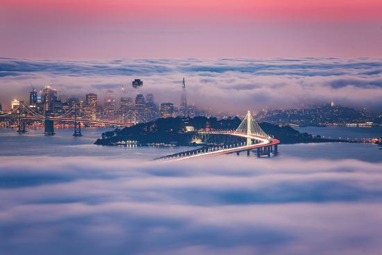 Fog City Dream, San Francisco Night Cityscape and Sunset Fog-Vincent James-Photographic Print