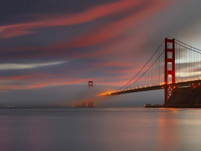 Fog over the Golden Gate Bridge at Sunset, San Francisco, California, USA-Patrick Smith-Photographic Print