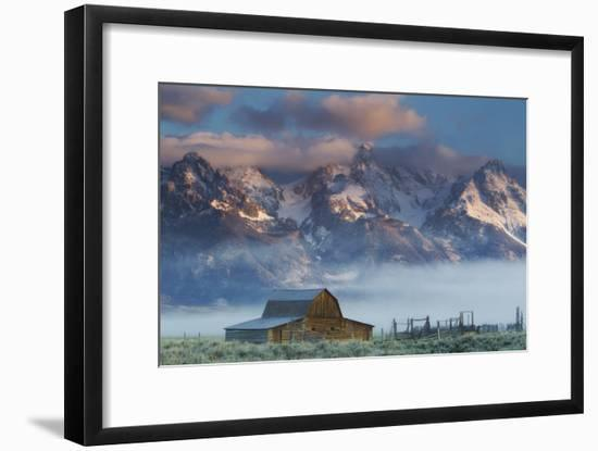 Fog Rolls in around the Mormon Row Historic District and the Snow-Capped Teton Range-Robbie George-Framed Photographic Print