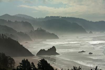 Fog Rolls onto the Rocky, Hilly Coastline-Vickie Lewis-Photographic Print