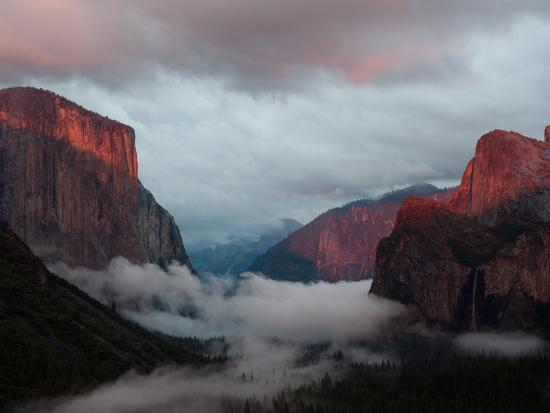 Fog Settles over Yosemite Valley-Jimmy Chin-Photographic Print