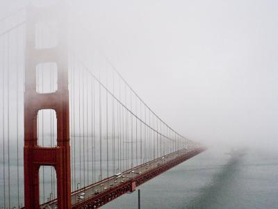 Fog Surrounds the Golden Gate Bridge Early in the Morning-Hannele Lahti-Photographic Print