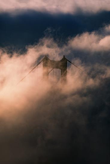 Fog Swarm at North Tower Golden Gate Bridge Mist Mood & Light-Vincent James-Photographic Print
