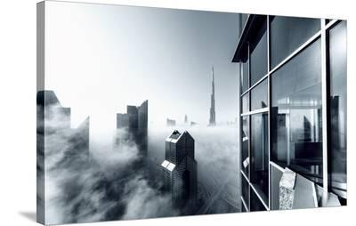 Foggy City--Stretched Canvas Print