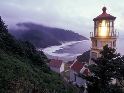 Foggy Day at the Heceta Head Lighthouse, Oregon, USA-Janis Miglavs-Photographic Print