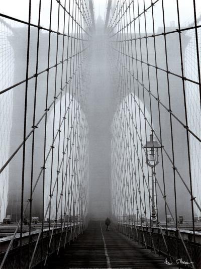 Foggy Day on Brooklyn Bridge-Henri Silberman-Art Print