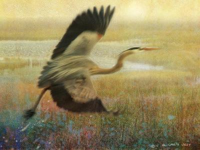 Foggy Heron I-Chris Vest-Art Print